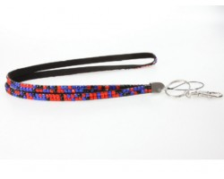 Leopard Blue And Orange Crystal Lanyard For ID Tags Or Eyeglasses