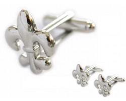 Silver Fleur De Lis Cuff Links