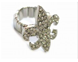 Clear Crystal Fleur De Lis Silver Stretch Ring