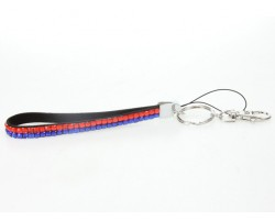 Blue Orange Crystal Strap Key Chain