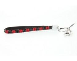 Red & Black Checker Crystal Strap Key Chain