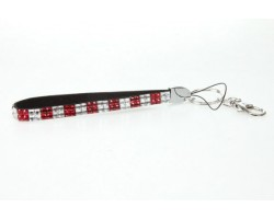 Red & Clear Checker Crystal Strap Key Chain