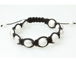 Silver Macramé Rough Texture Bead Bracelet