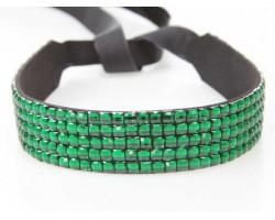 Emerald Crystal 5 Row Headband Tie