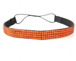 Orange Crystal 5 Row Headband Stretch