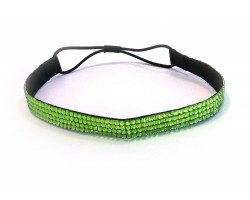 Peridot Green Crystal 4 Row Headband Stretch
