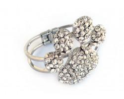 Clear Crystal Paw Print Hinge Cuff Bracelet