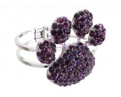 Purple Crystal Paw Print Hinge Cuff Bracelet