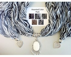 Animal Color Scarf Oval Cabochon Pendant Necklace 6pcs