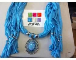 Assorted Color Scarf Oval Cabochon Pendant Necklace 6pcs