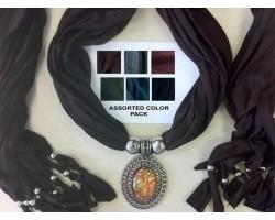 Dark Assorted Color Scarf Oval Cabochon Pendant Necklace 6pcs
