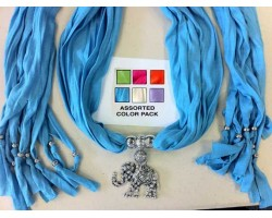 Assorted Scarf Antique Silver Crystal Elephant Pendant Necklace 6 Pack