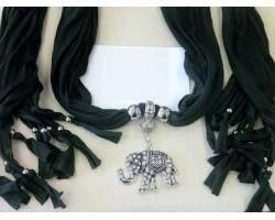 Black Scarf Antique Silver Crystal Elephant Pendant Necklace