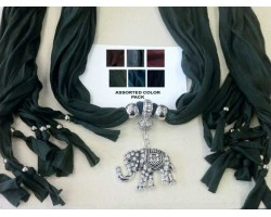 Dark Assorted Scarf Silver Crystal Elephant Pendant Necklace 6 Pack