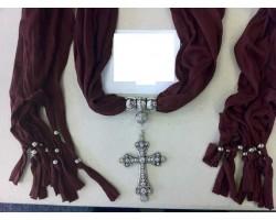 Black Scarf Antique Silver Crystal Cross Pendant Necklace