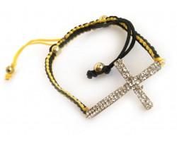 Clear Crystal Black & Gold Braided Macramé Bracelet