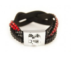 Red and Black Crystal Braid Strap Bracelet With Silver Heart Clasp