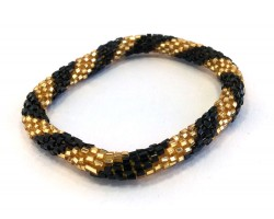Black & Gold Genuine Nepal Hand Crafted Roll On Mission Bracelets