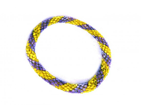 Purple Yellow Genuine Nepal Hand Crafted Roll Bracelets