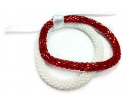 Red & White Genuine Nepal Roll On Mission Bracelets