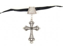 Cross Lace Cutout with Crystal Scarf Necklace Pendant
