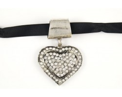 Crystal Heart Scarf Necklace Pendant