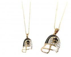 Black Gold Flat Football Helmet Fleur De Lis Necklace