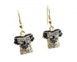 Black Gold Crystal Football Jersey Hook Earrings