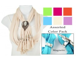 Assorted Lace Cut & Crystal Leaf Magnetic Pendant Scarf Necklace 6 pcs