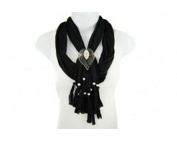 Black Lace Cut & Crystal Leaf Magnetic Pendant Scarf Necklace