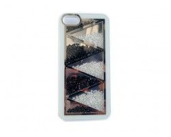 White Jet & Clear Crystal Zig Zag iPhone 5 Cell Phone Case