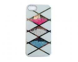 White Rose Clear & Aqua Crystal Argyle iPhone 5 Cell Phone Case