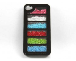 Black Assorted Crystal Rectangle Window iPhone 4 Cell Phone Case