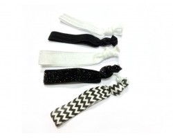 Assorted Black & White Plain & Chevron Stretch Hair Tie 30 Pieces