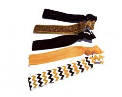 Assorted Black & Gold Plain & Chevron Stretch Hair Tie 30 Pieces