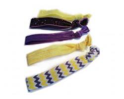 Assorted Purple & Gold Plain & Chevron Stretch Hair Tie 30 Pieces