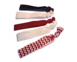 Assorted Red & White Plain & Chevron Stretch Hair Tie 30 Pieces