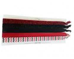Red & Black Plain & Chevron Stretch Headband 30 Pieces