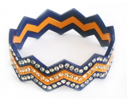 Blue & Orange Crystal Chevron 3 Band Bangle Bracelet