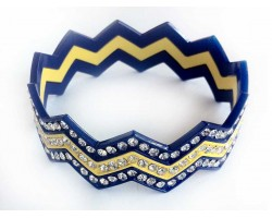 Blue & Yellow Crystal Chevron 3 Band Bangle Bracelet