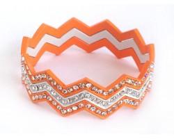 Orange & White Crystal Chevron 3 Band Bangle Bracelet