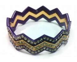 Purple & Gold Crystal Chevron 3 Band Bangle Bracelet
