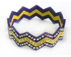 Purple & Yellow Crystal Chevron 3 Band Bangle Bracelet
