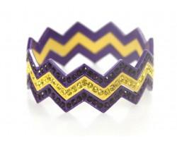 Purple & Yellow Crystal & Band Chevron 3 Band Bangle Bracelet