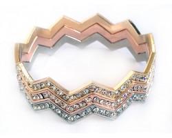 Tri Color Crystal Chevron 3 Band Bangle Bracelet
