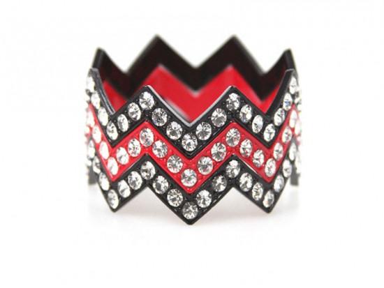 Black & Red Large Crystal Chevron 3 Bangle Bracelet