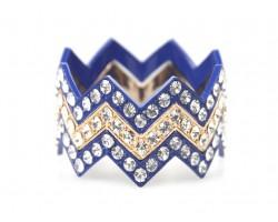 Blue & Gold Large Crystal Chevron 3 Bangle Bracelet