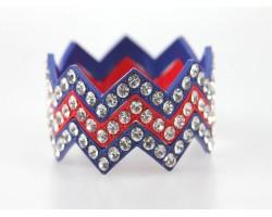Blue & Red Crystal Large Chevron 3 Bangle Bracelet