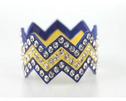 Blue & Yellow Large Crystal Chevron 3 Bangle Bracelet