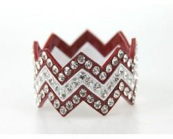Maroon & White Large Crystal Chevron 3 Band Bangle Bracelet